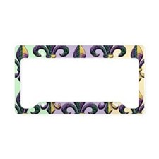 Fleur de lis Mardi Gras beads License Plate Holder