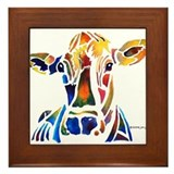 Whimzical Original Cow Art Framed Tile
