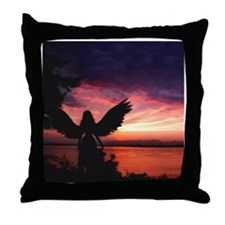 Cute Wall angels Throw Pillow