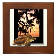Cute Tropical sunset Framed Tile