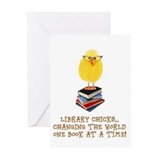 library chick Greeting Cards