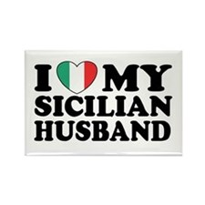 I Love My Sicilian Husband Rectangle Magnet