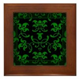 Fancy Green Vines Framed Tile
