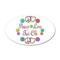 Peace Love Tai Chi 22x14 Oval Wall Peel