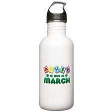 Asher is Due in March Water Bottle