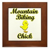 Mountain Biking Chick Framed Tile