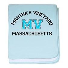 Martha's Vineyard MA - Map Design. baby blanket