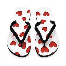 Red Hearts Flip Flops