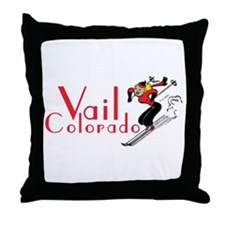 Cute Skier Throw Pillow