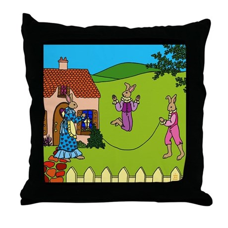 Edwardian Bunnies Throw Pillow