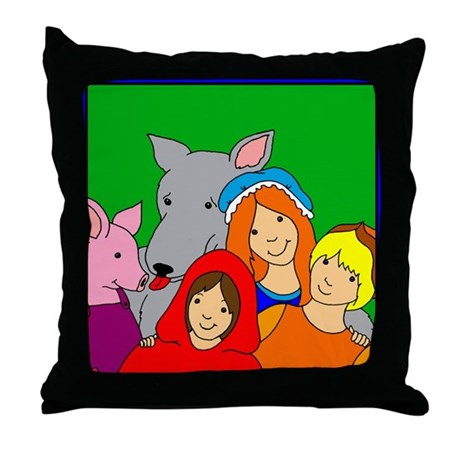 Fairy Tale Friends Throw Pillow