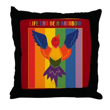 Rainbow Bird Throw Pillow