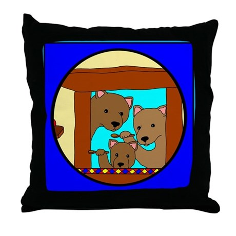 The Three Bears Throw Pillow
