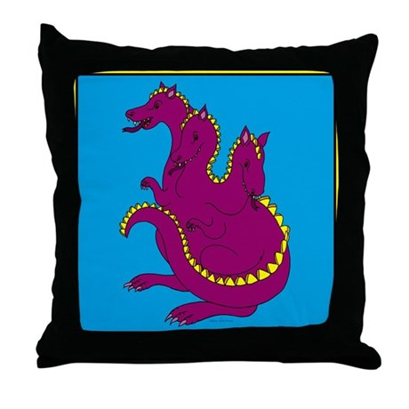 Three-Headed Dragon Throw Pillow