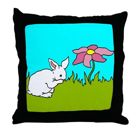 Shy Bunny Throw Pillow