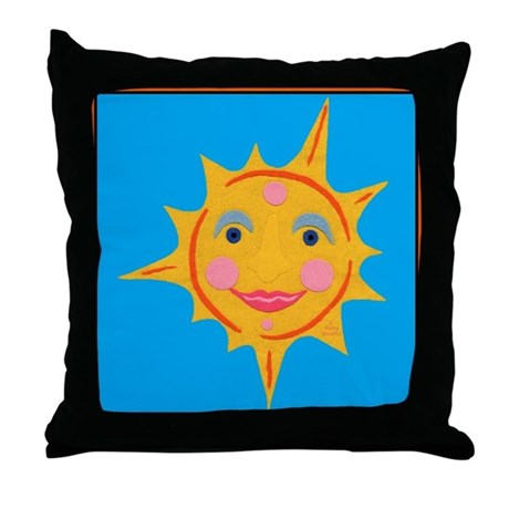 Smiling Sun Throw Pillow