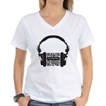 Custom QR Headphones Women's V-Neck T-Shirt