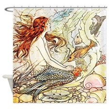 Vintage Mermaid Shower Curtain