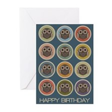 Owl Dots Birthday Greeting Cards (Pk of 20)