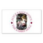 Alice Falls Down the Rabbit Hole Sticker (Rectangl