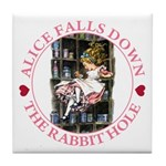 Alice Falls Down the Rabbit Hole Tile Coaster