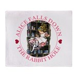 Alice Falls Down the Rabbit Hole Throw Blanket