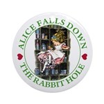 Alice Falls Down the Rabbit Hole Ornament (Round)