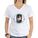 Alice Falls Down the Rabbit Hole Women's V-Neck T-