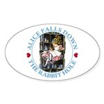 Alice Falls Down the Rabbit Hole Sticker (Oval 10