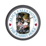 Alice Falls Down the Rabbit Hole Wall Clock