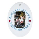 Alice Falls Down the Rabbit Hole Ornament (Oval)