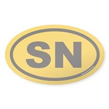 SN Euro Oval Sticker Black on Gold