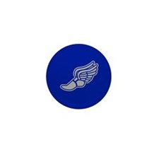 Blue & Silver Track Foot Mini Button (10 pack)