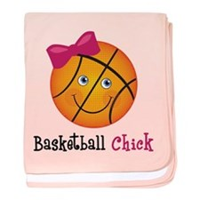Pink Basketball Chick baby blanket