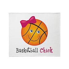 Pink Basketball Chick Throw Blanket