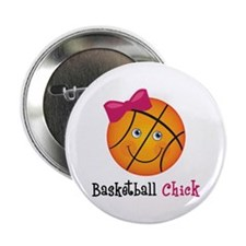 "Pink Basketball Chick 2.25"" Button"