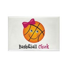 Pink Basketball Chick Rectangle Magnet (100 pack)