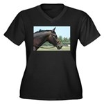 Show Horse Women's Plus Size V-Neck Dark T-Shirt