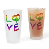 Peace and Love - Rainbows Drinking Glass
