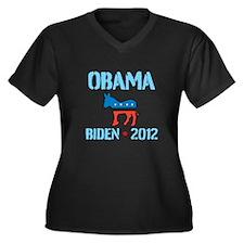 Obama Biden 2012 Women's Plus Size V-Neck Dark T-S