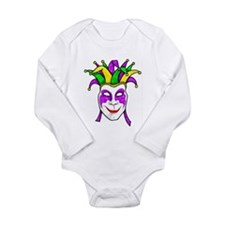 Mardis Gras Mask Long Sleeve Infant Bodysuit