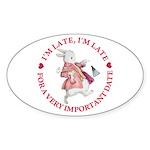 I'm Late, I'm Late! Sticker (Oval)