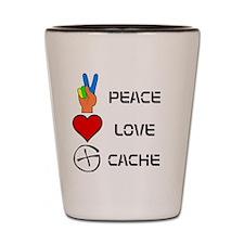 Peace Love Cache Shot Glass
