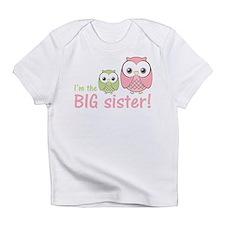 Big Sister Owl Pink/Green Infant T-Shirt