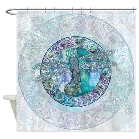 Interesting Dragon Fly Shower Curtain. Cool Celtic Dragonfly Shower Curtain  An Original Work of Art to Revitalize Your Bathroom