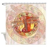 Warm Celtic Dragonfly Shower Curtain