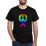 NEW!! Peace Ribbon (Rainbow) Black T-Shirt