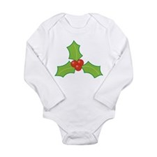 Christmas Holly Long Sleeve Infant Bodysuit