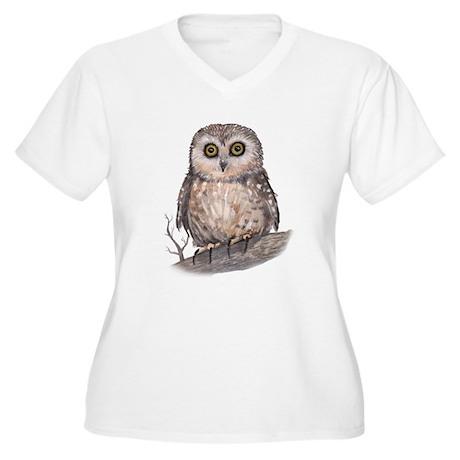 Wide Eyed Owl Women's Plus Size V-Neck T-Shirt