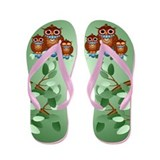 Three Alert Little Owls Flip Flops